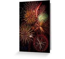 Multiple Fireworks Blasts Paint the Night Sky Greeting Card
