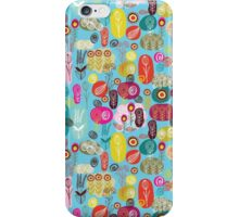 Cute Colorful Abstract Retro Flowers Blue Tones iPhone Case/Skin