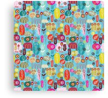 Cute Colorful Abstract Retro Flowers Blue Tones Canvas Print