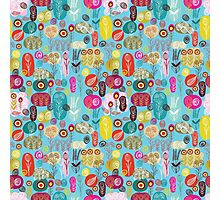 Cute Colorful Abstract Retro Flowers Blue Tones Photographic Print
