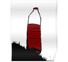 water h2O red bottle  Poster