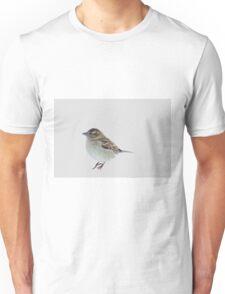 Single house sparrow in the snow Unisex T-Shirt