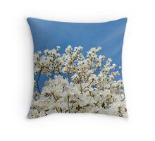 Magnolia Blossoms and Blue Sky Throw Pillow