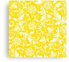 Yellow & White Elegant Floral Damasks Canvas Print