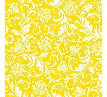 Yellow & White Elegant Floral Damasks Photographic Print