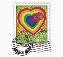 Rainbow Love Kiss Stamp One Piece - Long Sleeve
