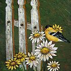 Goldfinch & the Fence in Arcylic by teresa731