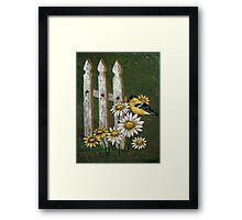 Goldfinch & the Fence in Arcylic Framed Print
