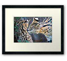 Serval Mom and Kitten Framed Print
