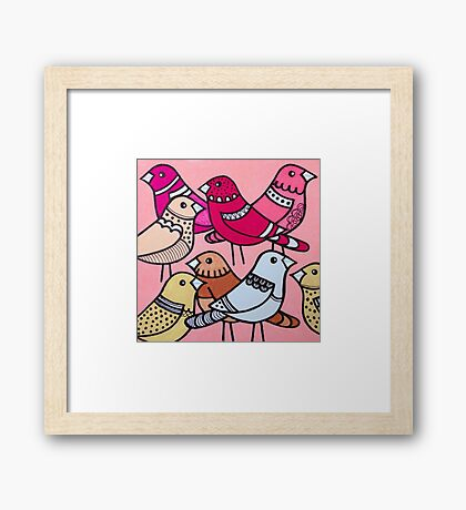 Colourful birds in pink Framed Print