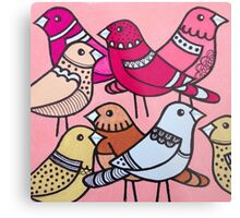 Colourful birds in pink Metal Print