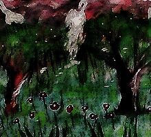 Weeping willows in the flood zone, but romantic, watercolor by Anna  Lewis, blind artist