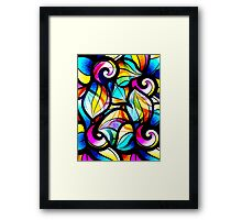 Colorful Stained Glas Like Abstract Swirls Framed Print