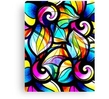 Colorful Stained Glas Like Abstract Swirls Canvas Print