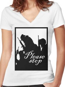 please stop Women's Fitted V-Neck T-Shirt
