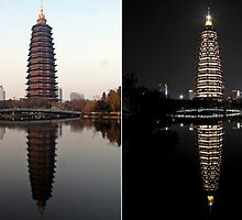 Day and night, Tianning temple, Changzou by DaveLambert