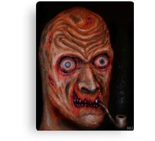 Head of a zombie with burning pipe Canvas Print