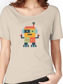 Happy Robot Pattern Women's Relaxed Fit T-Shirt