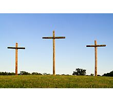 Three Wooden Crosses and Blue Sky Horizon Photographic Print