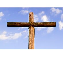 Old Rugged Cross and Cloud-Draped Sky Photographic Print