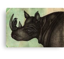 Rhino & Bird Canvas Print