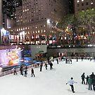 Rockefeller Center Skating Rink at Night, New York  by lenspiro