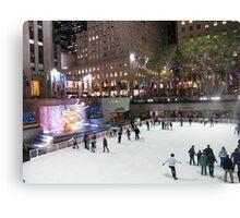 Rockefeller Center Skating Rink at Night, New York  Canvas Print