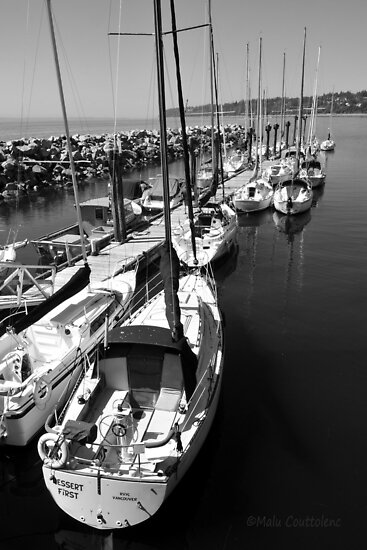 Sailboats at the Pier black and white by MaluC