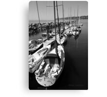 Sailboats at the Pier black and white Canvas Print