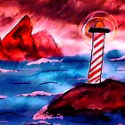 Lighthouse on stormy night, watercolor by Anna  Lewis