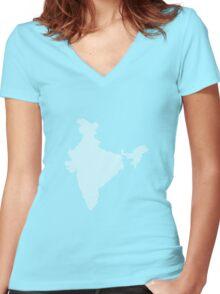 India abstract geometric pattern map Women's Fitted V-Neck T-Shirt