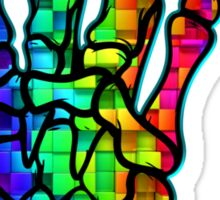 HEAVY METAL HAND SIGN - rainbow cubes Sticker