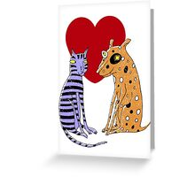 Opposites Attract Cat and Dog Greeting Card