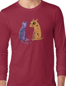 Opposites Attract Cat and Dog Long Sleeve T-Shirt