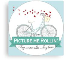 Picture me Rollin' Bike Illustration. They see me Rollin, They be Lovin' Canvas Print