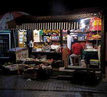 Fruit shop, night, Suzhou, Jiangsu by DaveLambert