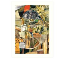 Woman with Curlers Smoking a Cigarette. Art Print