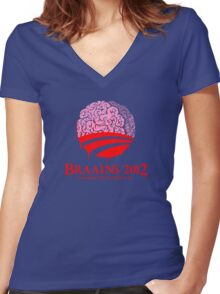 Vote Braains 2012 - A Zombie You Can Believe In! Women's Fitted V-Neck T-Shirt
