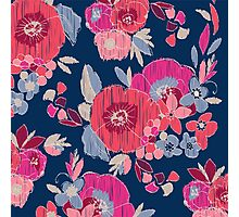 Janis Flower Navy Ikat Floral Photographic Print
