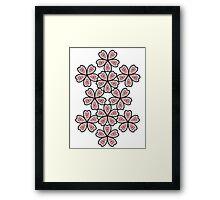 Flowered Heart Pattern Framed Print
