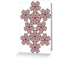Flowered Heart Pattern Greeting Card