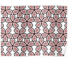 Heart Flower Pattern Poster