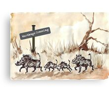 Warthogs Crossing Canvas Print