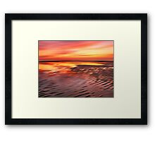 Beach Ripples Sunset Framed Print