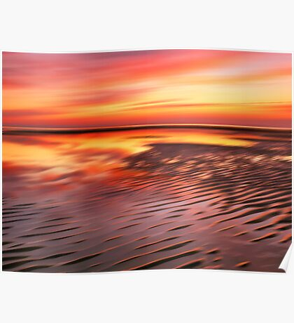 Beach Ripples Sunset Poster