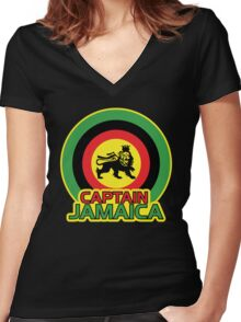 Captain Jamaica Women's Fitted V-Neck T-Shirt