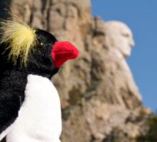 Presidential Penguin at Mount Rushmore Sticker