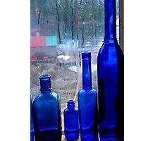 Blue Bottles Photographic Print