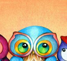 Autumn Owl Trio Sticker