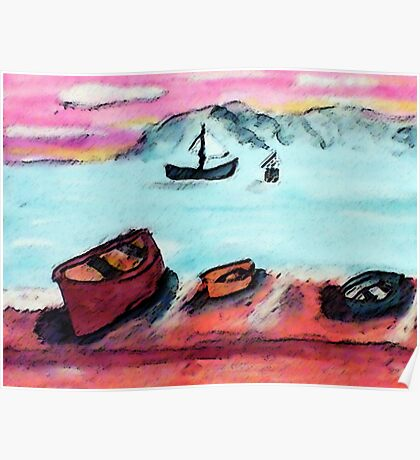Boats waiting to go out, tomorrow, watercolor Poster